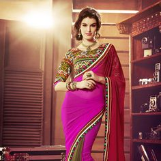 Red, Fuchsia Pink and Brown Faux Chiffon Saree with Blouse