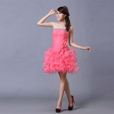 Sweet Sexy Strapless Slim Bodice Bowtie Pleats Pink Prom Gown Evening Dress
