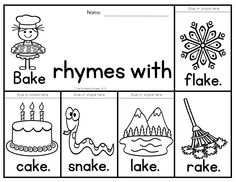 A fun, new way to teach rhyming words! Rhyming word flip books. 40 books to teach 40 different rhyming sets. All words are spelled the same (ex: pail, tail, sail NOT whale) could also be used with word families.