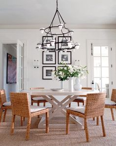 Coastal Living Beachy dining room with rattan chairs simple