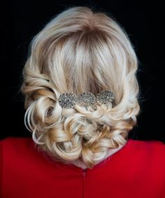 low curly updo for blonde hair