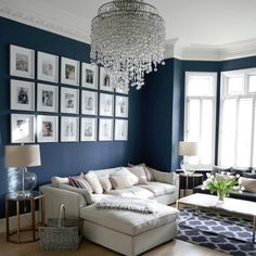 Savvy and Inspiring living room lounge hoboken you'll love Blue And Cream Living Room, Navy Living Rooms, Blue Living Room Decor, Living Room Lounge, Blue Rooms, Living Room Paint, Formal Living Rooms, New Living Room, Interior Design Living Room