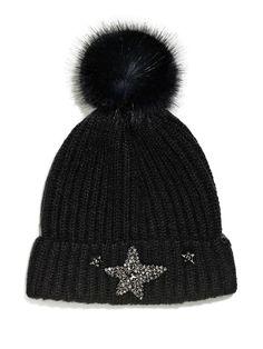 d2a015a7f8b Victoria s Secret Winter Angel Sparkling Star Hat Beanie Black  fashion   clothing  shoes