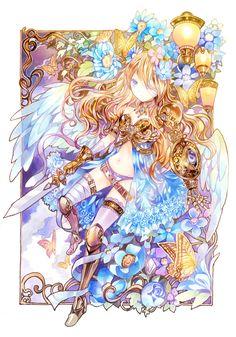 ✮ ANIME ART ✮ angel. . .warrior. . .angel wings. . .armor. . .bandages. . .sword. . .flowers. . .butterflies. . .fantasy. . .kawaii