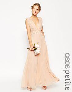 Image 1 ofASOS PETITE WEDDING Deep Plunge Super Full Pleated Maxi Dress