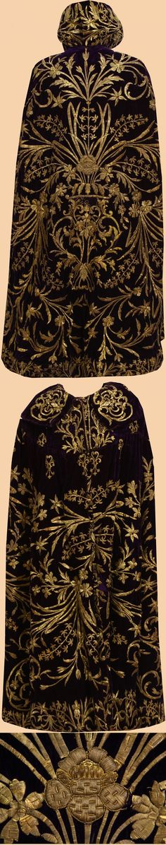 Womans caftan.  Late-Ottoman mid-19th century.   The dark red silk velvet is embroidered with gold thread strip and sequins in dival work and in stem stitch (so-called sarma or Maraş işi).