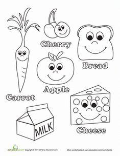 Kindergarten Life Learning Worksheets: Healthy Food Coloring Page Coloring Worksheets For Kindergarten, Worksheets For Kids, Preschool Food, Preschool Activities, Preschool Kindergarten, English Activities, Preschool Learning, Healthy Kids, Healthy Recipes