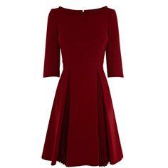 A-Linien-Kleid mit 3/4-Ärmeln und weit schwingenden, plissierten Rockbahnen von Karen Millen.