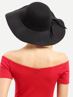 1b34287f02d5a SheIn offers Black Vintage Bow Decorated Large Brimmed Hat   more to fit  your fashionable needs.