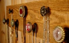 Jewelry/Necklace Organizer Simply Gorgeous 7 knob Rustic Organizer Board bedroom wall decor via Etsy