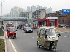 Chongqing, three wheeler paratransit Chongqing, Photo Library, Transportation, Public, Urban