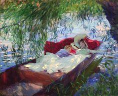 1. John Singer Sargent Deux femmes endormies dans une barque sous les saules, 1887 Huile sur toile - 58 x 68,5 cm Lisbonne, Fondation Calouste Gulbenkian Photo : Fondation Calouste Gulbenkian