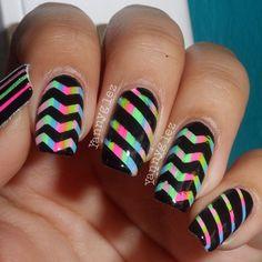 Black and multI color Super Cute Nails, Nice Nails, Fancy Nails, Pretty Nails, Pearl Nail Art, Pearl Nails, Rhinestone Nails, Crazy Nail Designs, Cute Nail Art Designs