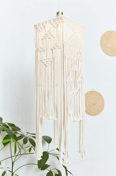 """Inspired by the elegant lines of California's palatial Art Deco hotels, """"The Eastern"""" is a beautiful macramé chandelier that is handmade out of cotton cord Art Deco Hotel, Chandelier, Handmade, Furniture, Knots, Berlin, Beautiful, California, Home Decor"""