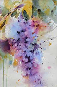 Wisteria by Yvonne Joyner Watercolor ~ 14 in. including mat x 11 in. including mat