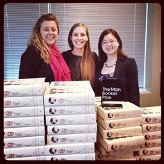 After her Governor General's Literary Award win, Eleanor Catton dropped by our office with her #manbookerprize - so exciting! #Luminaries