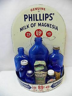 antique PHILLIPS' MILK OF MAGNESIA drugstore store display ,sign.advertising