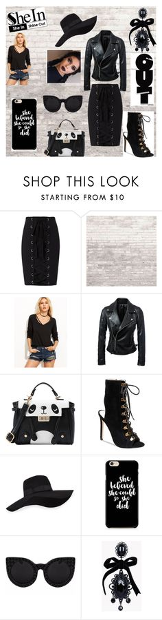 """Black Out"" by warleda ❤ liked on Polyvore featuring Exclusive for Intermix, WALL, Steve Madden, San Diego Hat Co. and Dsquared2"