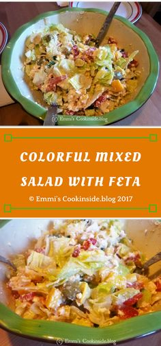 Colourful mixed salad with feta - Refreshing delicious recipe - Ingredients: iceberg salad, feta cheese, bell pepper, tomatoes, olives, italian herbs, olive oil. Easy recipe
