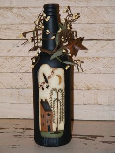Primitive+DecorHandpainted+Wine+Bottle+with+a+prim+by+theprimplace,+$18.99