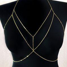 Doble capa cadena oro Bralette cuerpo sujetador de por BitsnPiecess