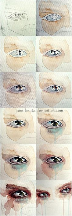 Watercolor eye tutorial, one eye closeup by =jane-beata on deviantART:
