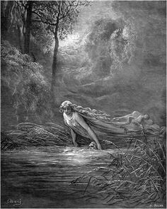 "Dante submerged in the River Lethë -- ""Dante's Purgatorio"": by Gustave Doré"