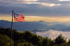 Old glory flying over the Great Smoky Mountains in NC.