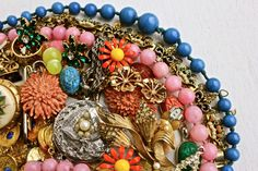 Vintage Broken Jewelry Lot - Colorful Earrings, Brooches, Necklaces, for Repair Repurpose / Over 1 Pound of Supplies, by Maejean Vintage on Etsy, $30.00