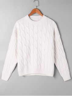 Cable Knit Pattern Drop Shoulder Sweater - OFF-WHITE ONE SIZE