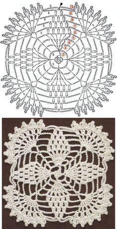 Crochet Edgings Patterns Patterns and motifs: Crocheted motif no. Crochet Edging Patterns, Crochet Borders, Crochet Diagram, Doily Patterns, Crochet Chart, Crochet Squares, Thread Crochet, Crochet Designs, Knitting Patterns