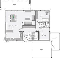 Küche und Wohnzimmer vertauscht. Garderobe an der Wand zur Küche. Tür etwas nach oben rücken
