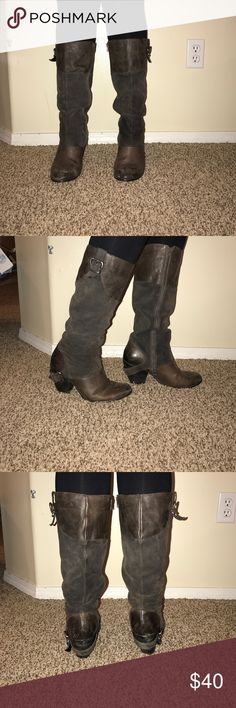 Fergie soft tall healed leather boots Really cute brown soft leather healed boots buckle around the heap cute boots with any outfit! Lightly used a few scuffs! Fergie Shoes Heeled Boots