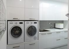 For this customer, we designed custom cabinets to elevate the front loading washer and dryer to make it easier to load the dirty laundry. Laundry Cabinets, Kitchen Cabinets In Bathroom, Storage Cabinets, Marble Benchtop, Laundry Design, Washing Machine And Dryer, Cleaning Items, Front Load Washer, Laundry Storage