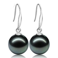 Ashiqi Vintage Noble Natural Tahitian Pearl Earring , Gold Earrings For 10-11Mm Black Pearls Jewelry