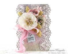 Today I would like to share a card with decorative edges which I made using Graceful Fans die set . A tutorial how to use border . Happy Birthday Cards, Birthday Presents, Becca Feeken Cards, Spellbinders Cards, Instagram Widget, Die Cut Cards, Amazing Grace, Handmade Flowers, Card Making