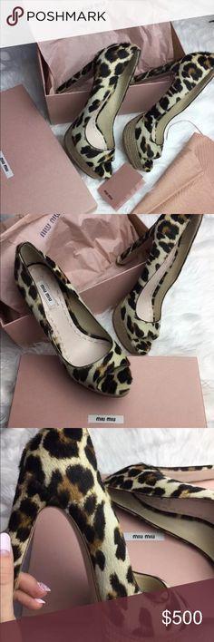 NWT Prada Miu Miu heels Gorgeous open toe platform pumps from Miu Miu Prada leopard print size 39 European new comes with box dust bags and care book Miu Miu Shoes Heels