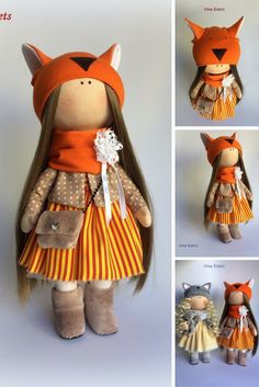 Fox doll Textile doll Handmade doll Fabric doll orange color Soft doll Cloth…