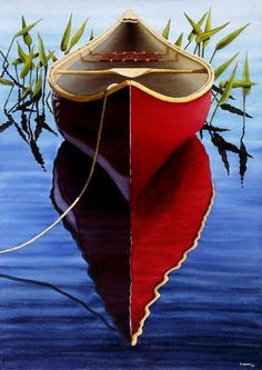Great photo, kind of creepy description. My family gave me a red canoe for Mother's Day with just one paddle. It was an omen that I was going to have to paddle my own canoe in the very near future. Country Cottage Living, Boat Art, Canoe And Kayak, Canoe Camping, Canoe Trip, Wooden Boats, Mirror Image, Shades Of Red, Kayaking