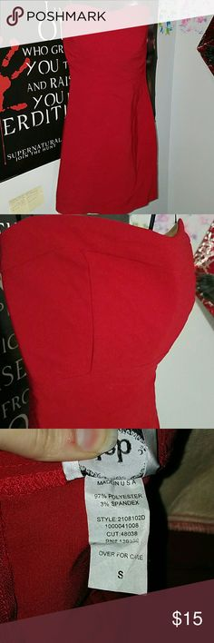 Red cocktail strapless dress Small, above knee, red, simple design Deb Dresses Strapless
