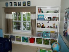 I would love to add this window seat to our school/playroom window. It would fit perfectly in with the built in shelves on either side of the window. Add a cushion and it would make the perfect reading nook! Built In Shelves, Built In Storage, Built Ins, Kids Room Organization, Organizing Toys, Kids Storage, Toy Storage, Storage Area, Wall Storage