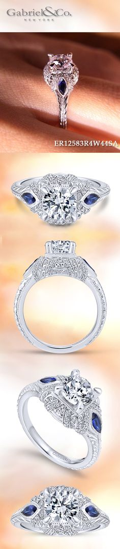 Gabriel & Co. - Voted #1 Most Preferred Bridal Brand.   Marquis cut sapphire side stones add a rich pop of color to this sumptuous three stone halo engagement ring.