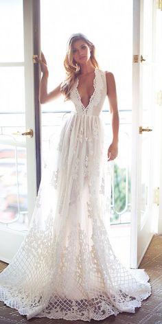 romantic bridal gowns a line deep v neckline vintage lurelly