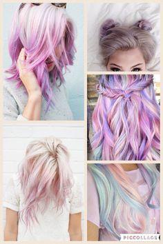 Hair Dye Colors, Cool Hair Color, Hair Colour, Pastel Rainbow Hair, Colorful Hair, Hair Coloring, Awesome Hair, Crazy Hair, Hair Dos