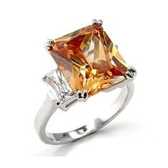 Radiant-cut light Champagne CZ stone sits beautifully, w/Austrian Crystals Sz 9 Engagement Rings Under 1000, Emerald Cut Engagement, Pretty Rings, Rings Cool, Radiant Cut Diamond, Princess Cut Rings, Fashion Designer, Cubic Zirconia Rings, Homemade Jewelry