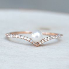Chevron V Pearl Ring - Rose Gold - The Faint Hearted Jewelry