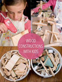 Wood constructions using scraps of wood and a glue gun
