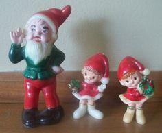 3 Vintage Christmas Elves Pixies Plastic Figurines | eBay
