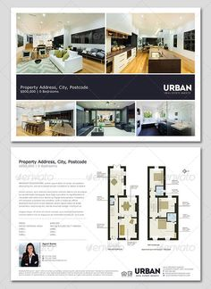 Modern Real Estate Flyer/Window Card by realestateflyers A clean & modern Real Estate flyer PSD template. Dimensions: US Letter bleed bleed Featur Real Estate Banner, Real Estate Flyers, Real Estate Marketing, Photoshop, Design Brochure, Corporate Brochure, Corporate Design, Brochure Template, Interior Design Presentation