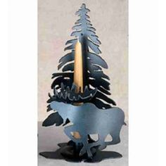 Moose On The Loose Single Tree Candle Holder - #23090